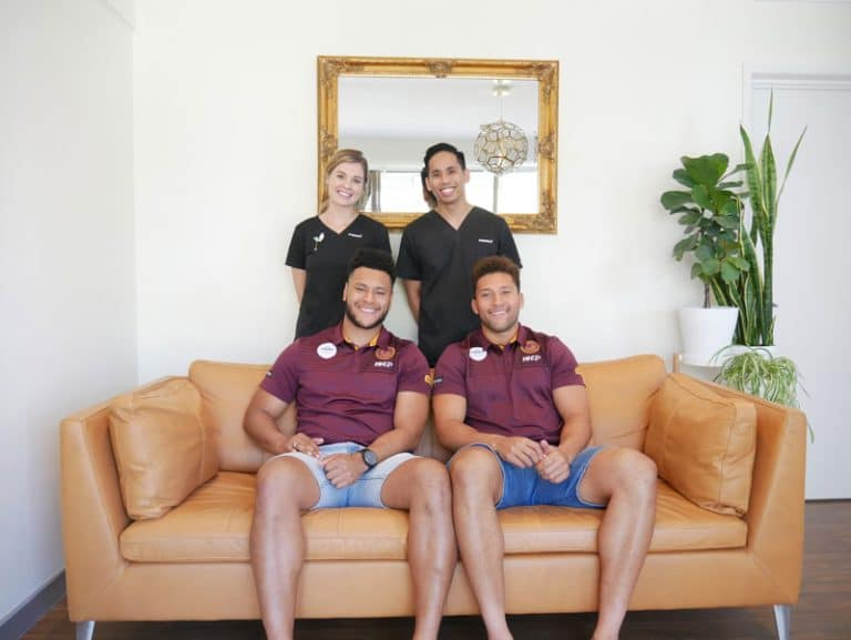 Brisbane Broncos Players - Gehamat Shibasaki and Haydyn O'hara